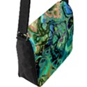 Fractal Batik Art Teal Turquoise Salmon Flap Messenger Bag (L)  View2