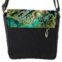 Fractal Batik Art Teal Turquoise Salmon Flap Messenger Bag (S) View1