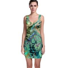Fractal Batik Art Teal Turquoise Salmon Sleeveless Bodycon Dress