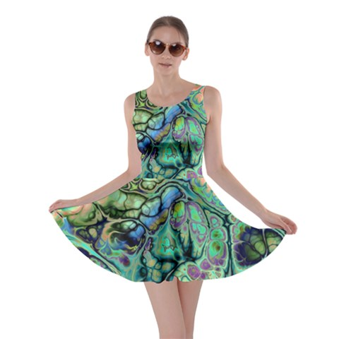 Fractal Batik Art Teal Turquoise Salmon Skater Dress
