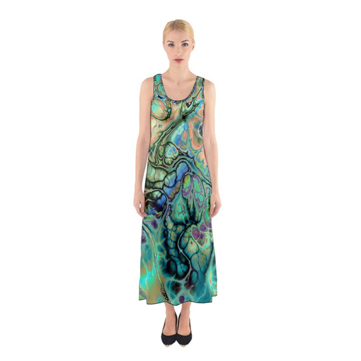 Fractal Batik Art Teal Turquoise Salmon Sleeveless Maxi Dress