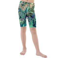 Fractal Batik Art Teal Turquoise Salmon Kids  Mid Length Swim Shorts