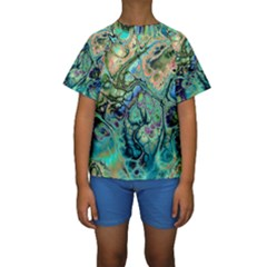 Fractal Batik Art Teal Turquoise Salmon Kids  Short Sleeve Swimwear