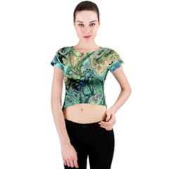Fractal Batik Art Teal Turquoise Salmon Crew Neck Crop Top