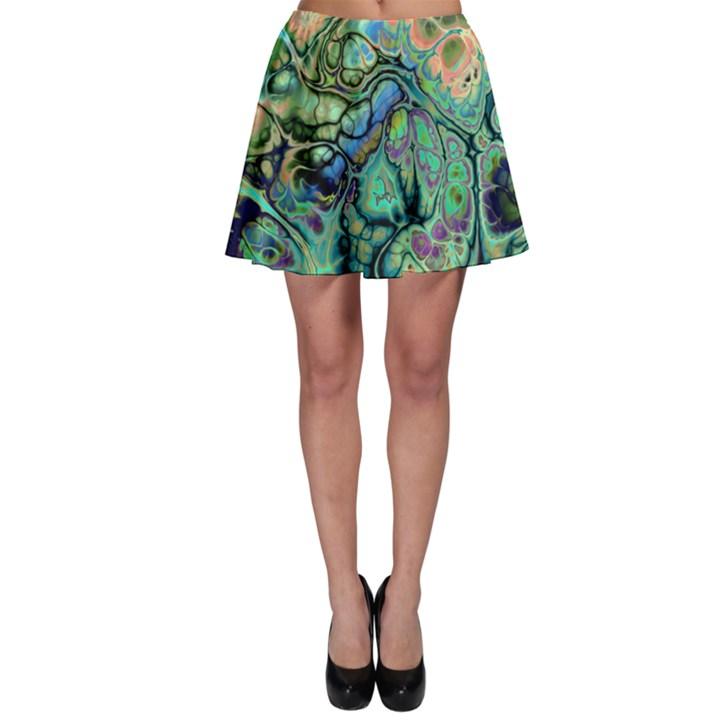Fractal Batik Art Teal Turquoise Salmon Skater Skirt