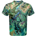 Fractal Batik Art Teal Turquoise Salmon Men s Cotton Tee View1