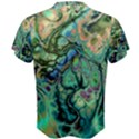 Fractal Batik Art Teal Turquoise Salmon Men s Cotton Tee View2