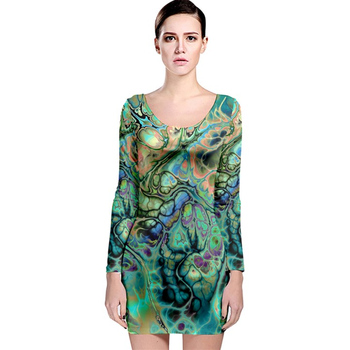 Fractal Batik Art Teal Turquoise Salmon Long Sleeve Bodycon Dress
