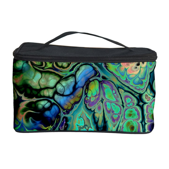 Fractal Batik Art Teal Turquoise Salmon Cosmetic Storage Case