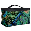 Fractal Batik Art Teal Turquoise Salmon Cosmetic Storage Case View2