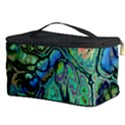 Fractal Batik Art Teal Turquoise Salmon Cosmetic Storage Case View3