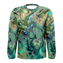 Fractal Batik Art Teal Turquoise Salmon Men s Long Sleeve Tee