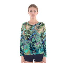 Fractal Batik Art Teal Turquoise Salmon Women s Long Sleeve Tee