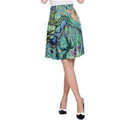 Fractal Batik Art Teal Turquoise Salmon A-Line Skirt