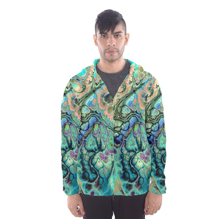 Fractal Batik Art Teal Turquoise Salmon Hooded Wind Breaker (Men)
