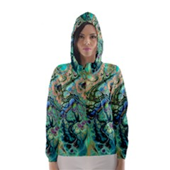 Fractal Batik Art Teal Turquoise Salmon Hooded Wind Breaker (Women)