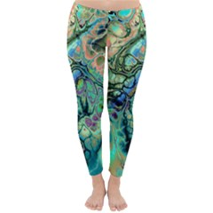 Fractal Batik Art Teal Turquoise Salmon Winter Leggings