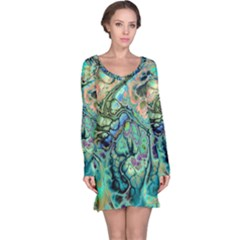 Fractal Batik Art Teal Turquoise Salmon Long Sleeve Nightdress