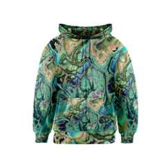 Fractal Batik Art Teal Turquoise Salmon Kids  Zipper Hoodie
