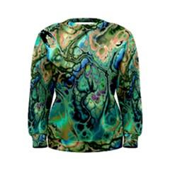Fractal Batik Art Teal Turquoise Salmon Women s Sweatshirt