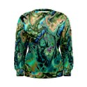 Fractal Batik Art Teal Turquoise Salmon Women s Sweatshirt View1