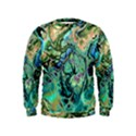 Fractal Batik Art Teal Turquoise Salmon Kids  Sweatshirt View1