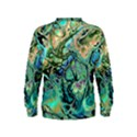 Fractal Batik Art Teal Turquoise Salmon Kids  Sweatshirt View2