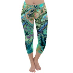 Fractal Batik Art Teal Turquoise Salmon Capri Winter Leggings