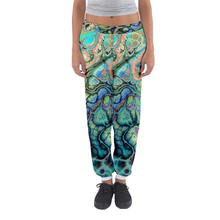 Fractal Batik Art Teal Turquoise Salmon Women s Jogger Sweatpants