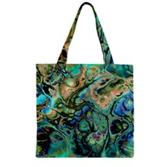 Fractal Batik Art Teal Turquoise Salmon Zipper Grocery Tote Bag