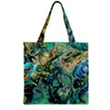 Fractal Batik Art Teal Turquoise Salmon Zipper Grocery Tote Bag View1