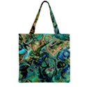 Fractal Batik Art Teal Turquoise Salmon Zipper Grocery Tote Bag View2