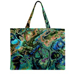 Fractal Batik Art Teal Turquoise Salmon Zipper Mini Tote Bag