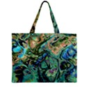 Fractal Batik Art Teal Turquoise Salmon Zipper Mini Tote Bag View1