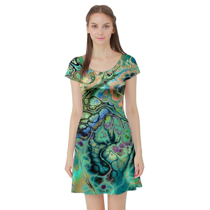 Fractal Batik Art Teal Turquoise Salmon Short Sleeve Skater Dress