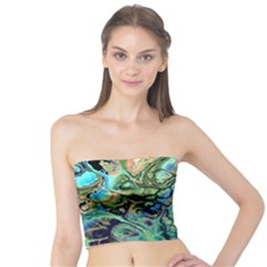 Fractal Batik Art Teal Turquoise Salmon Tube Top
