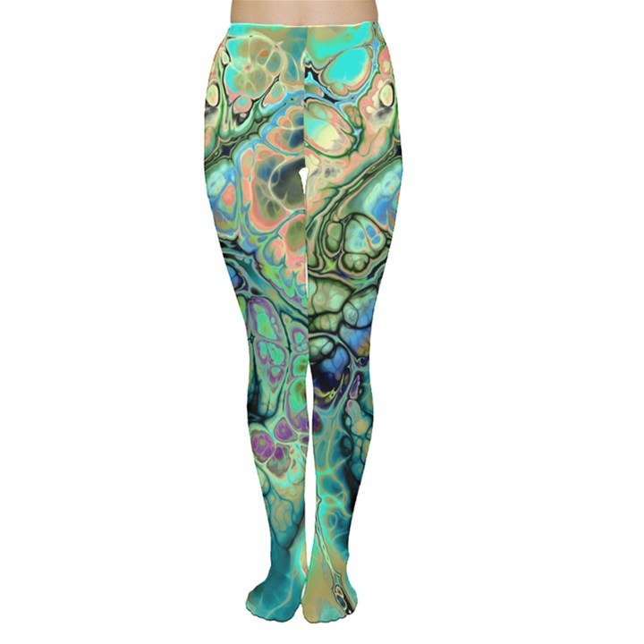 Fractal Batik Art Teal Turquoise Salmon Women s Tights