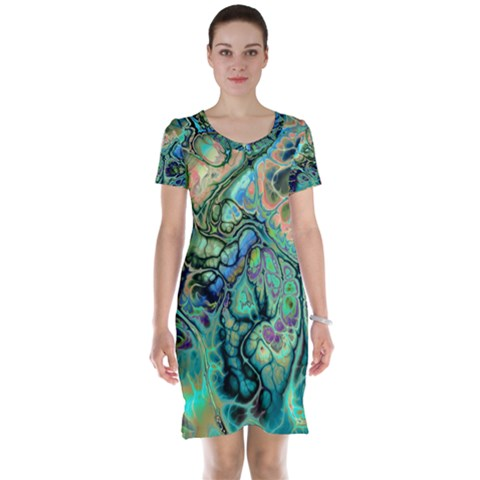 Fractal Batik Art Teal Turquoise Salmon Short Sleeve Nightdress