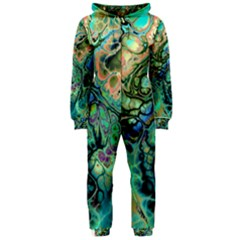 Fractal Batik Art Teal Turquoise Salmon Hooded Jumpsuit (Ladies)