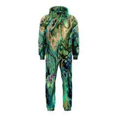 Fractal Batik Art Teal Turquoise Salmon Hooded Jumpsuit (Kids)