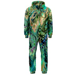 Fractal Batik Art Teal Turquoise Salmon Hooded Jumpsuit (men)