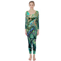 Fractal Batik Art Teal Turquoise Salmon Long Sleeve Catsuit
