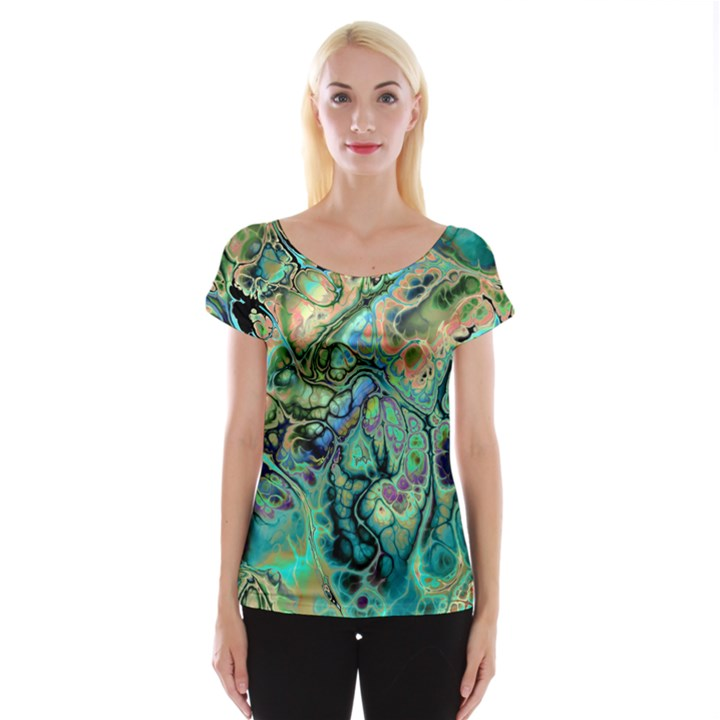 Fractal Batik Art Teal Turquoise Salmon Women s Cap Sleeve Top