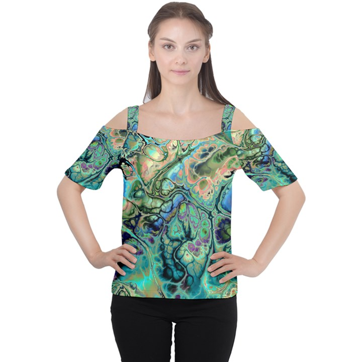 Fractal Batik Art Teal Turquoise Salmon Women s Cutout Shoulder Tee