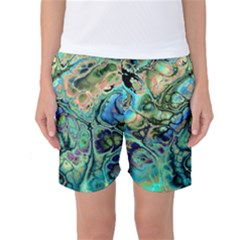 Fractal Batik Art Teal Turquoise Salmon Women s Basketball Shorts