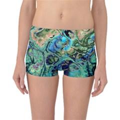 Fractal Batik Art Teal Turquoise Salmon Boyleg Bikini Bottoms