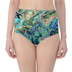 Fractal Batik Art Teal Turquoise Salmon High Waist Bikini Bottoms