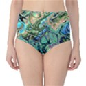 Fractal Batik Art Teal Turquoise Salmon High-Waist Bikini Bottoms View1