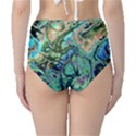 Fractal Batik Art Teal Turquoise Salmon High-Waist Bikini Bottoms View2