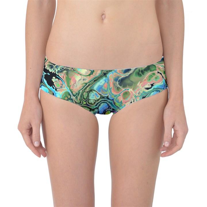 Fractal Batik Art Teal Turquoise Salmon Classic Bikini Bottoms